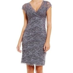 Marina Beaded Lace Sequin Tiered Dress 18W